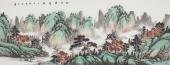 青绿山水画 曲胜利精品六尺横幅国画山水《松风云壑图》