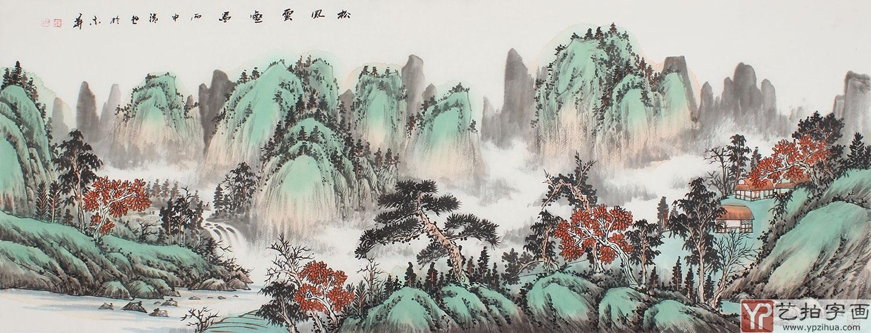 青绿山水画 曲胜利精品六尺横幅国画山水 松风云壑图