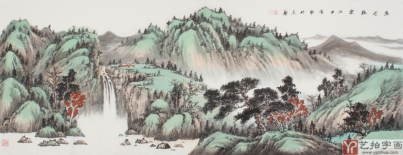 曲胜利青绿山水画作品小六尺横幅《清谷幽泉》-动物