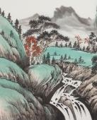 国家一级美术师曲胜利小六尺精品山水画《溪秋问道》