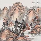 画家曲胜利写意山水画作品《山水清音图》