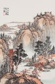 吉林美协曲胜利四尺三开山水画作品《深山论道》
