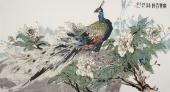 国家一级美术师冯志光六尺国画孔雀图《富贵吉祥》