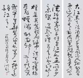 名家书法作品 王洪锡草书精品四条屏《念奴娇·赤壁怀古》