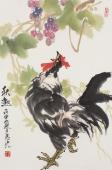 【询价】中国名家书画院理事冯志光四尺三开写意雄鸡图