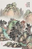 国家一级美术师曲胜利四尺三开青绿山水画《溪山清幽图》