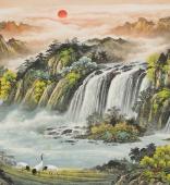 欧阳六尺横幅精品山水画《松鹤同晖》
