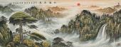 广西美协欧阳六尺精品重彩山水画《松鹤同春》