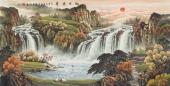 【已售】欧阳四尺横幅青绿山水画《旭日东升》