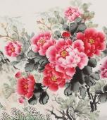 【已售】安徽美协云志精品六尺写意花鸟画《花开富贵》