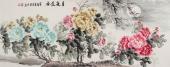 安徽美协云志六尺精品写意牡丹《月夜花香》