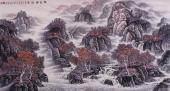 【已售】辽宁美协张振栋六尺精品山水画《枫叶醉秋图》