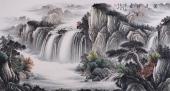客厅山水画 曾庆淮六尺写意横幅山水《源远流长》