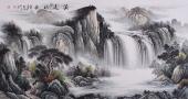 曾庆淮六尺横幅写意山水画《源远流长》