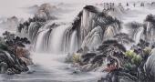 聚宝盆山水画 曾庆淮六尺横幅写意精品山水画《祥云飞瀑》
