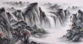 曾庆淮六尺横幅聚宝盆山水画作品《松山飞瀑》
