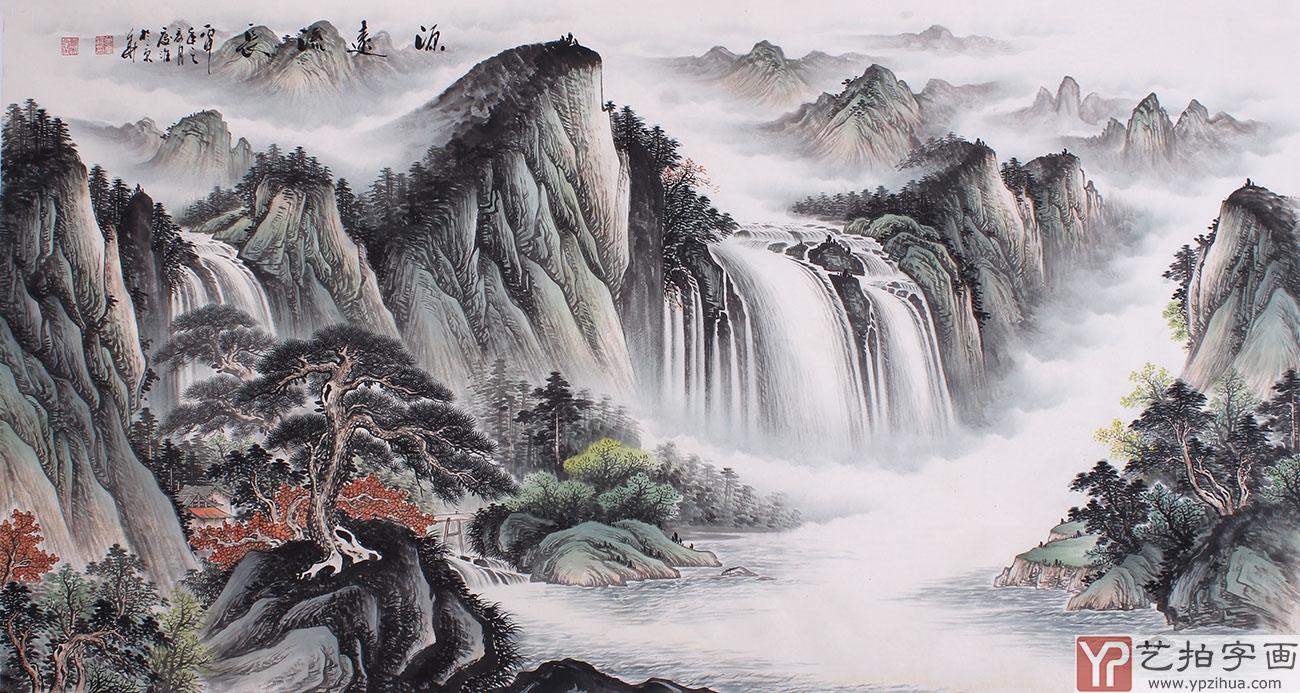 """山水画中有""""房屋"""" 寓意 人丁兴旺;松树长青不老的 吉祥"""