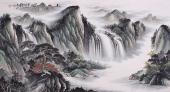 青绿山水画 曾庆淮六尺客厅山水画《松山飞瀑》