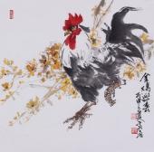 国家一级美术师冯志光大写意雄鸡图《金鸡迎春》