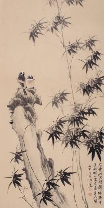 皇甫小喜四尺竖幅写意竹子图