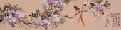 酒店装饰画 皇甫小喜四尺对开国画紫藤图