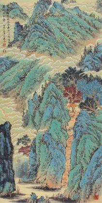 广西美协欧阳四尺竖幅青绿山水画