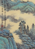 青绿山水画 广西美协欧阳四尺竖幅精品国画