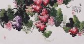 黄艺三尺横幅国画葡萄《清秋图》