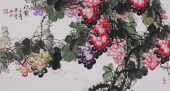 黄艺三尺横幅花鸟画作品《秋实》