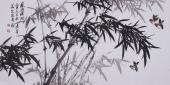 张国稳四尺横幅写意花鸟水墨竹子图