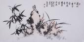 清华美院张国稳四尺横幅 花鸟竹子图