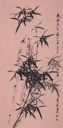 墨竹图 张国稳四尺竖幅花鸟画作品