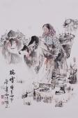 河南人物画名家杨西沐四尺三开国画人物《瑞雪》