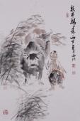 河南美协杨西沐四尺三开人物画《牧牛归来》
