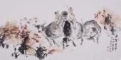 杨西沐四尺横幅童趣图《牛背童年》