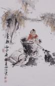 人物画名家杨西沐四尺三开国画《童趣》