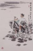 杨西沐四尺三开国画人物图《魂系高原》