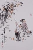 河南人物画名家杨西沐四尺三开《童年》