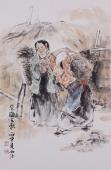 河南人物画家杨西沐四尺三开人物画