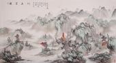 河北美协梁伟华六尺工笔山水画《雅宜山川》