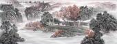 广西美协欧阳小六尺横幅写意山水画《溪山泉韵》