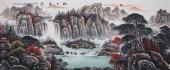曾庆淮小八尺横幅写意聚宝盆山水画《松山飞瀑》