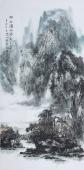 【已售】吉林美协杨秀亮四尺竖幅墨绿山水画《细雨润山色》