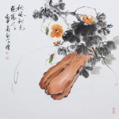 王学增四尺斗方精品花鸟画《秋风秋色艳阳天》
