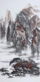 国家一级美术师杨秀亮四尺竖幅彩墨山水画