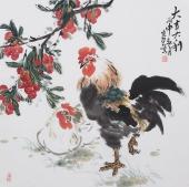 周宣荣斗方写意花鸟画作品《大吉大利》