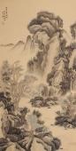 名家字画 滕传辉四尺竖幅写意山水《苍山云泉图》