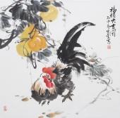 北京美协周宣荣四尺斗方雄鸡图《福禄大吉图》