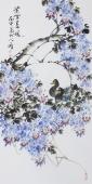花鸟画家王学增三尺竖幅花鸟画《紫雪春风》