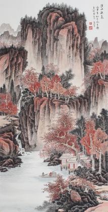 河北美协王立芳四尺竖幅精品山水画《溪山秋色》